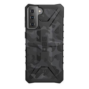 The sleek, Urban Armour Gear [UAG] Pathfinder Camo rugged case for the Samsung Galaxy S21 Plus features a classic tough-looking, composite design with a soft impact-absorbing core and hard exterior that provides superb protection in all situations.