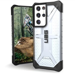 The Urban Armour Gear Plasma semi-transparent tough case in Ice for the Samsung Galaxy S21 Ultra,  features a protective case with a brushed metal UAG logo insert for an amazing rugged and stylish design.
