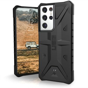The sleek, Urban Armour Gear [UAG] Pathfinder black rugged case for the Samsung Galaxy S21 Ultra features a classic tough-looking, composite design with a soft impact-absorbing core and hard exterior that provides superb protection in all situations.