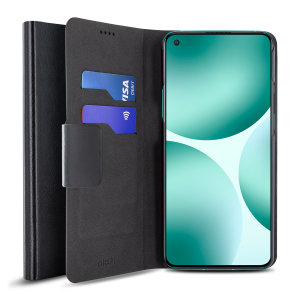 Olixar Leather-Style OnePlus 9 Wallet Stand Case - Black