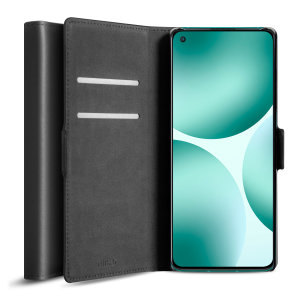 Olixar Genuine Leather Oneplus 9 Wallet Stand Case - Black