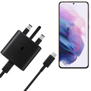 Be able to charge your Samsung Galaxy S21 quickly, safely and effectively with this genuine Samsung UK adaptive 45W fast mains charger & a USB-C to C 1m Cable in Black. Compact, stylish Official design to charge your device safely and quickly.