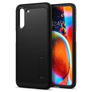 This Spigen Tough Armor for Samsung Galaxy S21 Plus 5G in black is the new leader in lightweight protective cases. Air Cushion Technology reduces the thickness of the case while providing optimal drop protection along with a kickstand for videos.