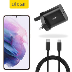Charge your S21 quickly & safely with this Olixar 18W USB-C PD fast mains charger and 1m Braided 100W USB-C to C Cable. The compact and portable plug, alongside the braided cable allows you to enjoy fast-charging at home, in the office or on-the-go.