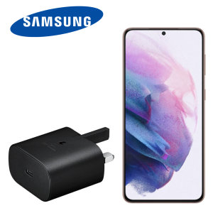 An Official Samsung UK adaptive fast mains charger for your Samsung Galaxy S21 device. With a power output of 25W, you'll have battery within minutes. This is the exact that charger that comes with these phones, providing 100% safe & effective charging.