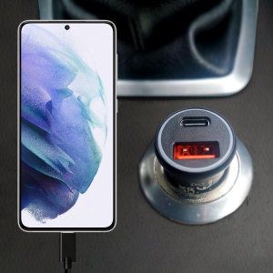 Keep your Galaxy S21 fully charged on the road with this Olixar fast charging 36W PD & QC dual USB Car Charger with an included 100W braided 1.5m USB to USB-C charging cable. Feel secure your S21 will charge safely & quickly on your journey with Olixar!