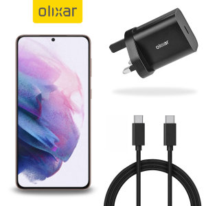 Charge your S21 quickly and safely with this Olixar Black 18W USB-C PD fast mains charger and 1.5m USB-C to C Cable. The compact and portable plug, alongside the braided cable allows you to enjoy fast-charging at home, in the office or on-the-go!