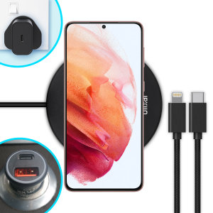The complete fast charging starter pack for Samsung Galaxy S21 Plus is finally here from Olixar. Featuring 2x USB-C to USB-C cables, an 18W fast charger, a 36W car adapter & 10W wireless charging pad, you can stay powered up in the car, office or at home.