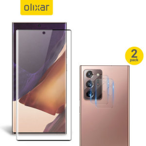 Featuring a high quality, 100% clear Tempered Glass screen protector & a 2 pack of ultra-thin camera protectors from Olixar you can feel secure in the knowledge that your Galaxy Note 20 Ultra screen & camera lenses are protected from scrapes & drops!
