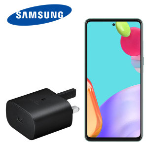 An Official Samsung UK Power Delivery fast mains charger for your Samsung Galaxy A52. With a power output of 25W, you'll have battery within minutes. This is the exact charger that comes with these phones, providing 100% safe & effective charging.