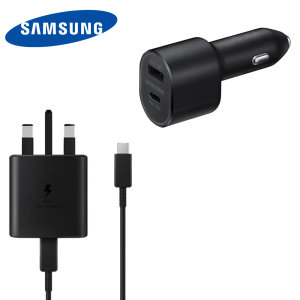 This sleek, ultimate charging bundle from Samsung has everything you need for safe, fast charging. Combining 45W 2 port car charging, 45W fast wall charger and USB-C 1m Cable for all your charging needs. Have your device charged in minutes with Samsung.