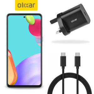 Charge your A52 quickly and safely with this Olixar Black 18W USB-C PD fast mains charger and 1.5m USB-C to C Cable. The compact and portable plug, alongside the braided cable allows you to enjoy fast-charging at home, in the office or on-the-go!