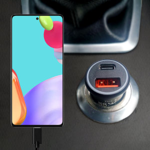 Keep your Galaxy A52 fully charged on the road with this Olixar fast charging 36W PD & QC dual USB Car Charger with an included 1m black USB-C to USB charging cable. Feel secure your A52 will charge safely & quickly on your journey with Olixar!