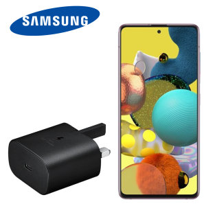 An Official Samsung UK Power Delivery fast mains charger for your Samsung Galaxy A51 device. With a power output of 25W, you'll have battery within minutes. This is the exact  charger that comes with these phones, providing 100% safe & effective charging