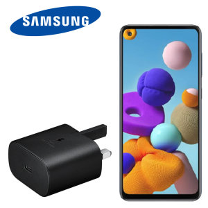 An Official Samsung UK Power Delivery fast mains charger for your Samsung Galaxy A22 device. With a power output of 25W, you'll have battery within minutes. This is the exact  charger that comes with these phones, providing 100% safe & effective charging