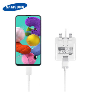 A genuine Samsung UK adaptive fast mains charger for your USB-C compatible Samsung Galaxy A52 5G. With folding pins for travel convenience and a genuine Samsung USB-C charging cable. This product is not retailed packed.
