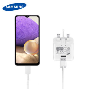 Official Samsung Galaxy A32 5G Fast Charger & USB-C Cable - White