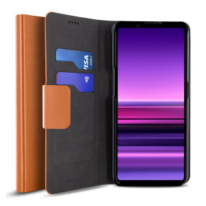 Olixar Leather-Style Sony Xperia 1 III Wallet Stand Case - Brown