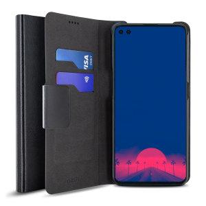 Olixar Leather-Style Motorola Edge S Wallet Stand Case - Black
