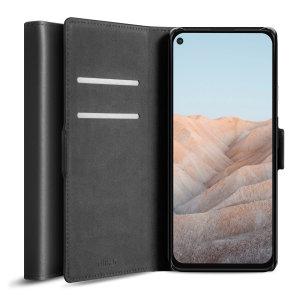 Olixar Genuine Leather Google Pixel 5a Wallet Stand Case - Black