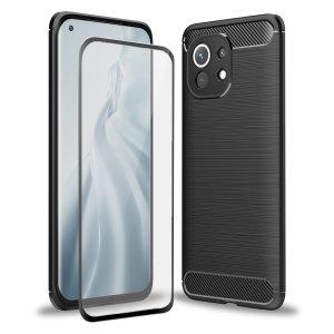 Olixar Sentinel Xiaomi Mi 11 Case & Glass Screen Protector - Black