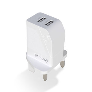 Muvit For Change Eco-Friendly Dual USB Port 24W UK Wall Charger- White