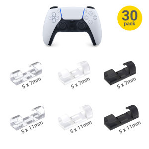 Olixar Self-Adhesive Cable Wall Clip Holders For PS5 - 30 Pack