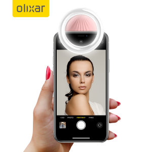 Olixar Smartphone Clip On Selfie Ring LED Light - Pink