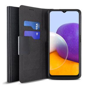 Olixar Leather-Style Samsung Galaxy A22 5G Wallet Case - Black