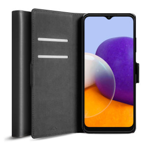 Olixar Genuine Leather Samsung Galaxy A22 5G Wallet Case - Black