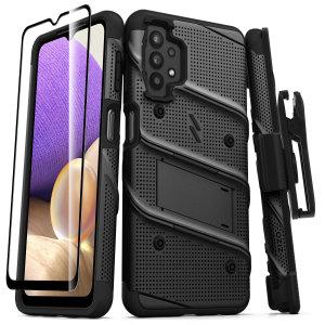 Zizo Bolt Samsung Galaxy A32 5G Tough Case With Tempered Glass - Black