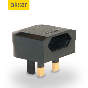 Olixar Travel Adaptor EU - UK (2 - 3 Pin) - Black