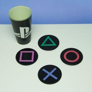 Paladone PlayStation Slip-Resistant Metal Drink Coasters - 4 Pack
