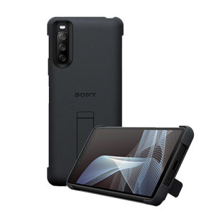 Official Sony Xperia 10 III Style Cover Protective Stand Case - Black