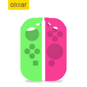 Olixar Silicone Switch Joy-Con Controller Covers- 2 Pack- Green / Pink