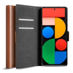 Olixar Genuine Leather Google Pixel 6 Wallet Case - Brown