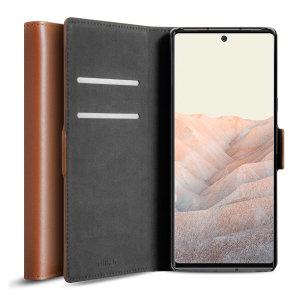 Olixar Genuine Leather Google Pixel 6 Pro Wallet Case - Brown