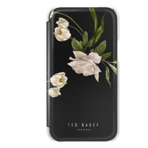 Ted Baker Elderflower iPhone 13 Pro Anti-Shock Folio Case-Black/Silver