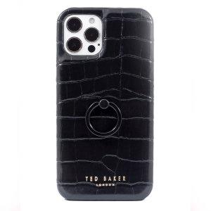 Ted Baker Half Wrap iPhone 13 Pro Finger Loop Case - Croc Black