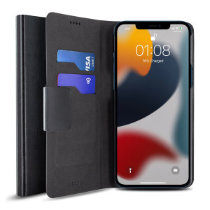 Olixar Leather-Style iPhone 13 Wallet Stand Case - Black