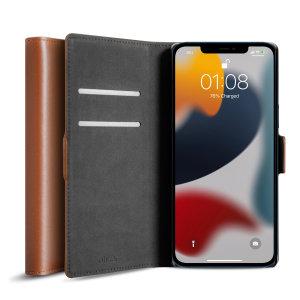 Olixar Genuine Leather iPhone 13 Wallet Case - Brown