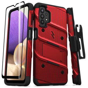 Zizo Bolt Samsung Galaxy A32 5G Tough Case With Tempered Glass - Red