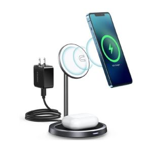 Choetech Duo MagSafe Compatible Qi 30W Wireless Charging Stand - Grey