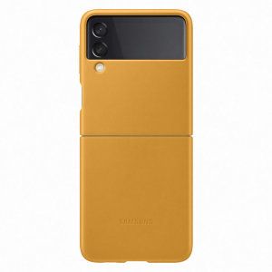 Official Samsung Galaxy Z Flip 3 Genuine Leather Cover Case - Mustard