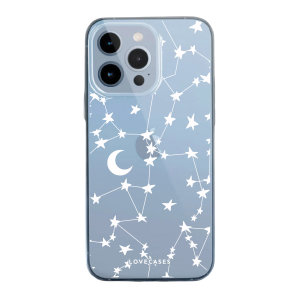 LoveCases iPhone 13 Pro Gel Case - White Stars and Moons