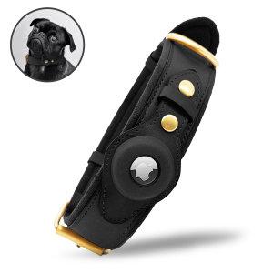 Olixar Apple AirTags Genuine Leather Small Dog Collar - Black