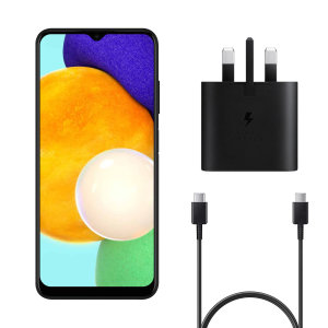 Official Samsung A03s 25W UK Wall Charger & 1m USB-C Cable - Black