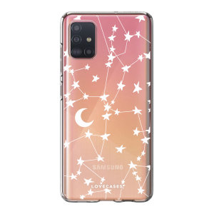 LoveCases Samsung Galaxy A52s Gel Case - White Stars And Moons