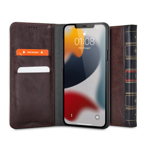Olixar X-Tome Leather-Style iPhone 13 Book Wallet Case - Brown