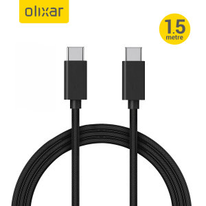 Olixar 100W Braided USB-C To C Fast Charging Cable - 1.5m - Black